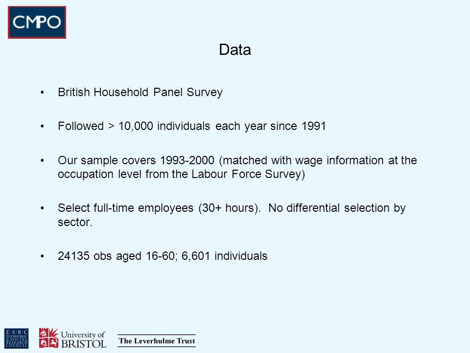 Data British Household Panel Survey Followed > 10,000 individuals each year since 1991 Our sample covers 1993-2000 (matched with wage information at the occupation level from the Labour Force Survey) Select full-time employees (30+ hours).