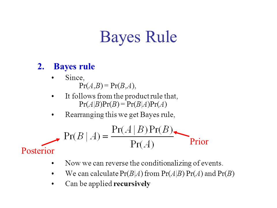 Bayes Rule 2.Bayes rule Since, Pr(A,B) = Pr(B,A), It follows from the product rule that, Pr(A|B)Pr(B) = Pr(B|A)Pr(A) Rearranging this we get Bayes rule, Now we can reverse the conditionalizing of events.