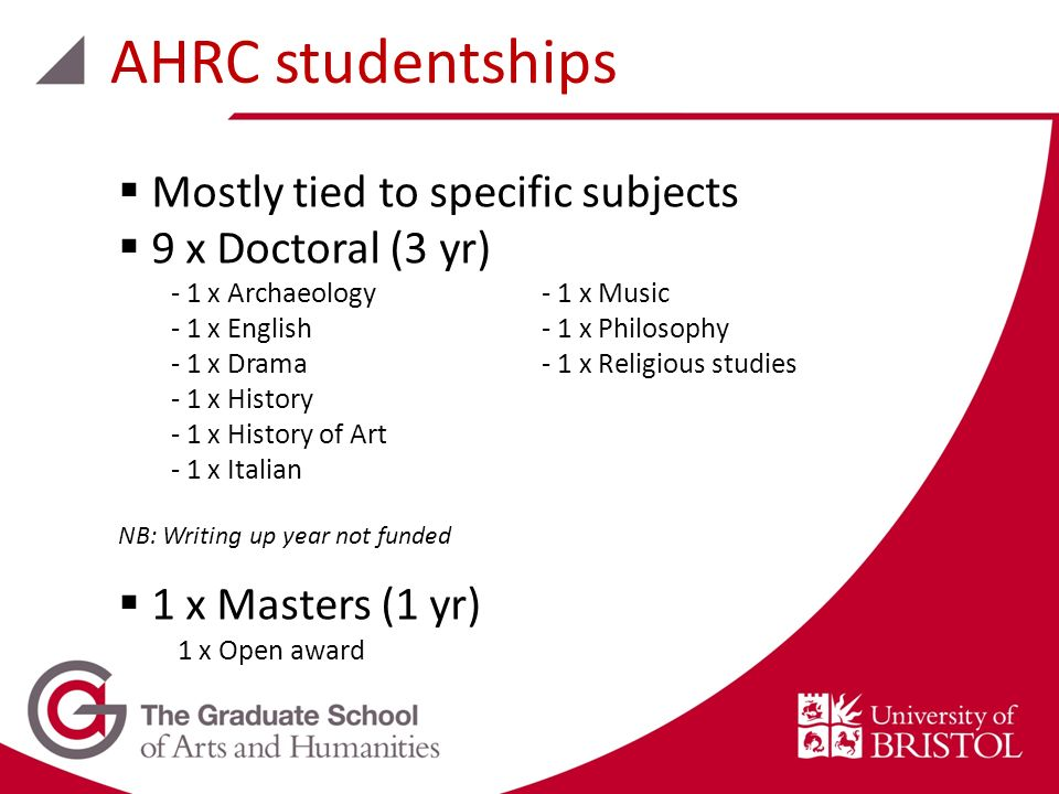 Mostly tied to specific subjects 9 x Doctoral (3 yr) - 1 x Archaeology- 1 x Music - 1 x English- 1 x Philosophy - 1 x Drama- 1 x Religious studies - 1 x History - 1 x History of Art - 1 x Italian NB: Writing up year not funded 1 x Masters (1 yr) 1 x Open award AHRC studentships