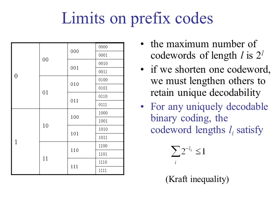 Limits on prefix codes the maximum number of codewords of length l is 2 l if we shorten one codeword, we must lengthen others to retain unique decodability For any uniquely decodable binary coding, the codeword lengths l i satisfy (Kraft inequality) 0 00 000 0000 0001 001 0010 0011 01 010 0100 0101 011 0110 0111 1 10 100 1000 1001 101 1010 1011 11 110 1100 1101 111 1110 1111