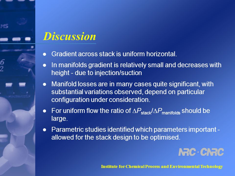 Institute for Chemical Process and Environmental Technology Discussion Gradient across stack is uniform horizontal.