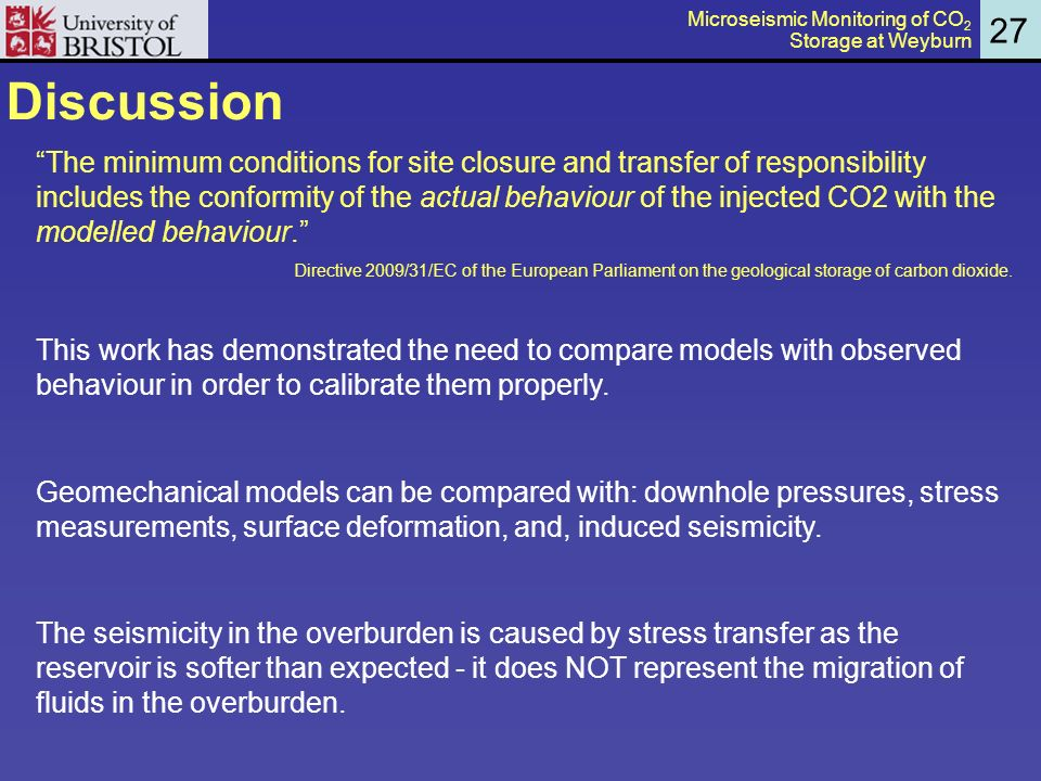 Discussion The minimum conditions for site closure and transfer of responsibility includes the conformity of the actual behaviour of the injected CO2 with the modelled behaviour.