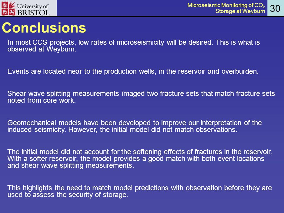 Conclusions In most CCS projects, low rates of microseismicity will be desired.