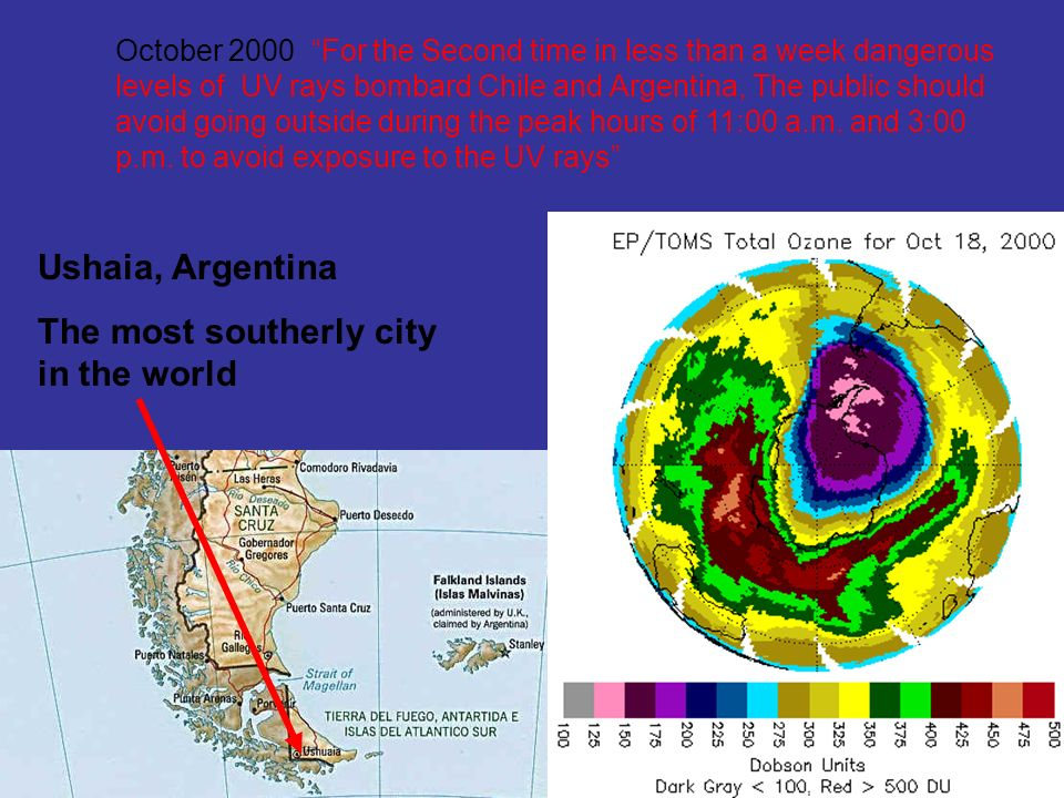 October 2000 For the Second time in less than a week dangerous levels of UV rays bombard Chile and Argentina, The public should avoid going outside during the peak hours of 11:00 a.m.