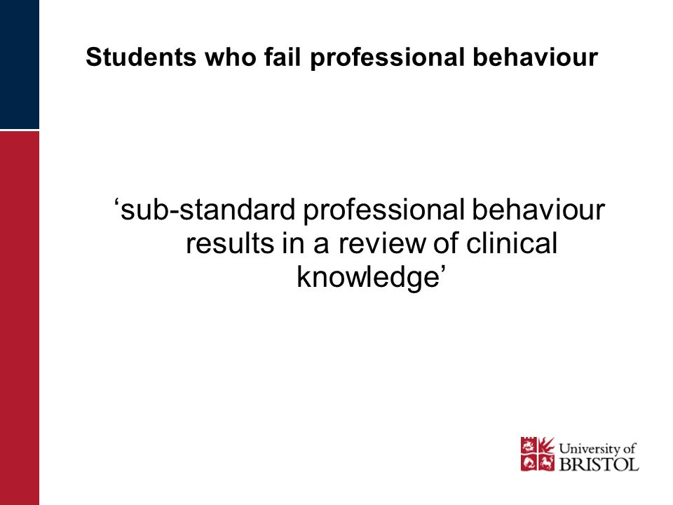 Students who fail professional behaviour sub-standard professional behaviour results in a review of clinical knowledge