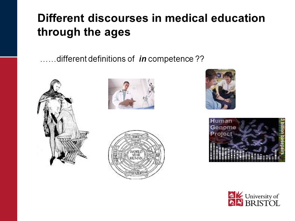 Different discourses in medical education through the ages ……different definitions of in competence