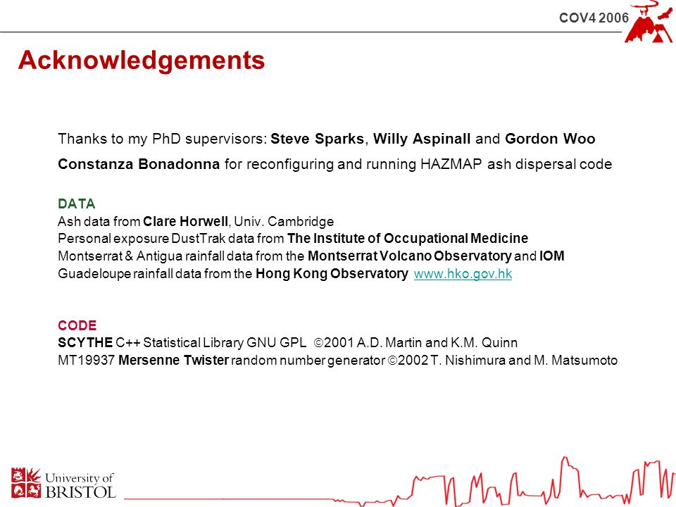 COV4 2006 Acknowledgements Thanks to my PhD supervisors: Steve Sparks, Willy Aspinall and Gordon Woo Constanza Bonadonna for reconfiguring and running HAZMAP ash dispersal code DATA Ash data from Clare Horwell, Univ.