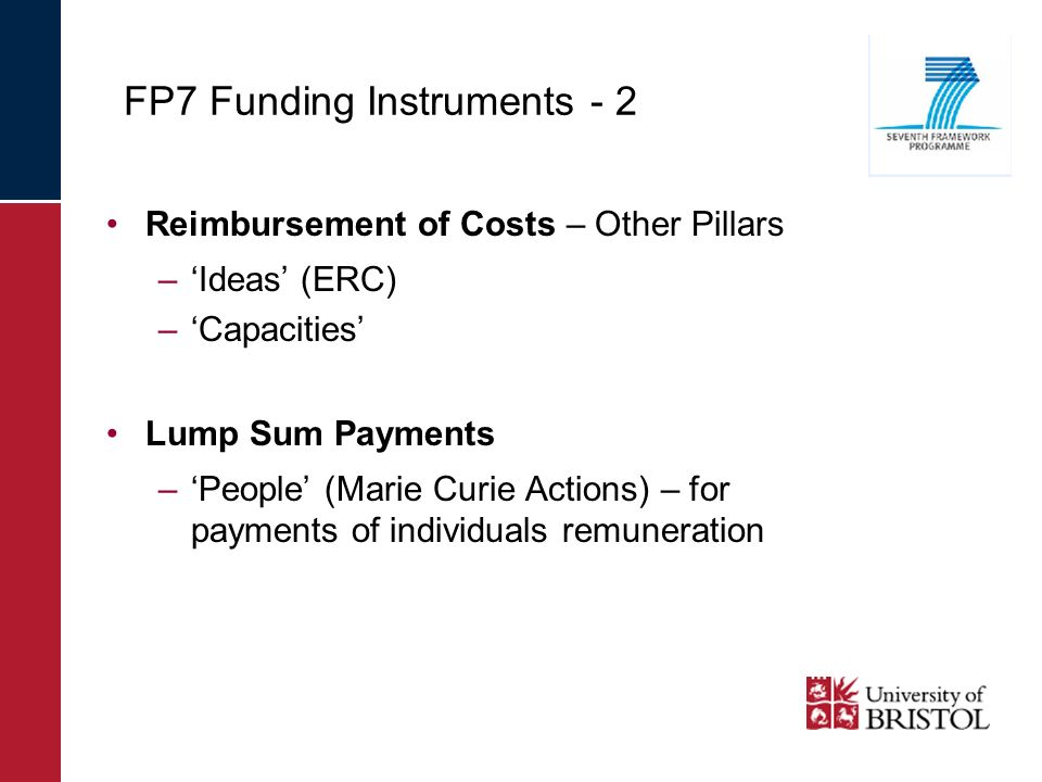 FP7 Funding Instruments - 2 Reimbursement of Costs – Other Pillars –Ideas (ERC) –Capacities Lump Sum Payments –People (Marie Curie Actions) – for payments of individuals remuneration