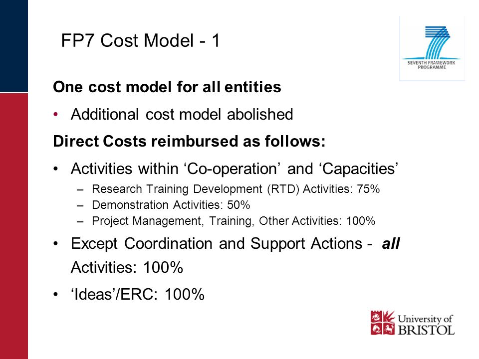 FP7 Cost Model - 1 One cost model for all entities Additional cost model abolished Direct Costs reimbursed as follows: Activities within Co-operation and Capacities –Research Training Development (RTD) Activities: 75% –Demonstration Activities: 50% –Project Management, Training, Other Activities: 100% Except Coordination and Support Actions - all Activities: 100% Ideas/ERC: 100%
