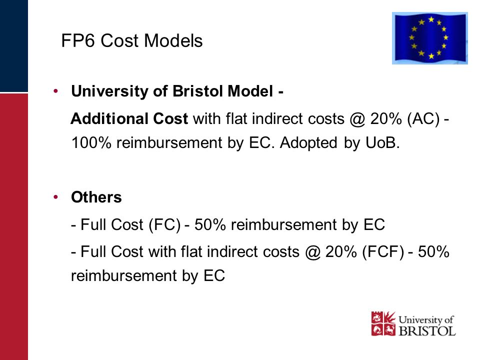 FP6 Cost Models University of Bristol Model - Additional Cost with flat indirect costs @ 20% (AC) - 100% reimbursement by EC.