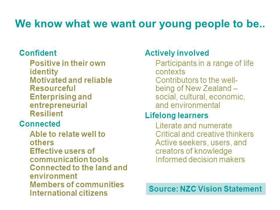 We know what we want our young people to be..