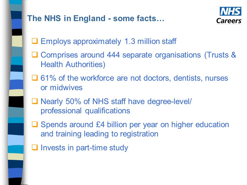 The NHS in England - some facts… Employs approximately 1.3 million staff Comprises around 444 separate organisations (Trusts & Health Authorities) 61% of the workforce are not doctors, dentists, nurses or midwives Nearly 50% of NHS staff have degree-level/ professional qualifications Spends around £4 billion per year on higher education and training leading to registration Invests in part-time study