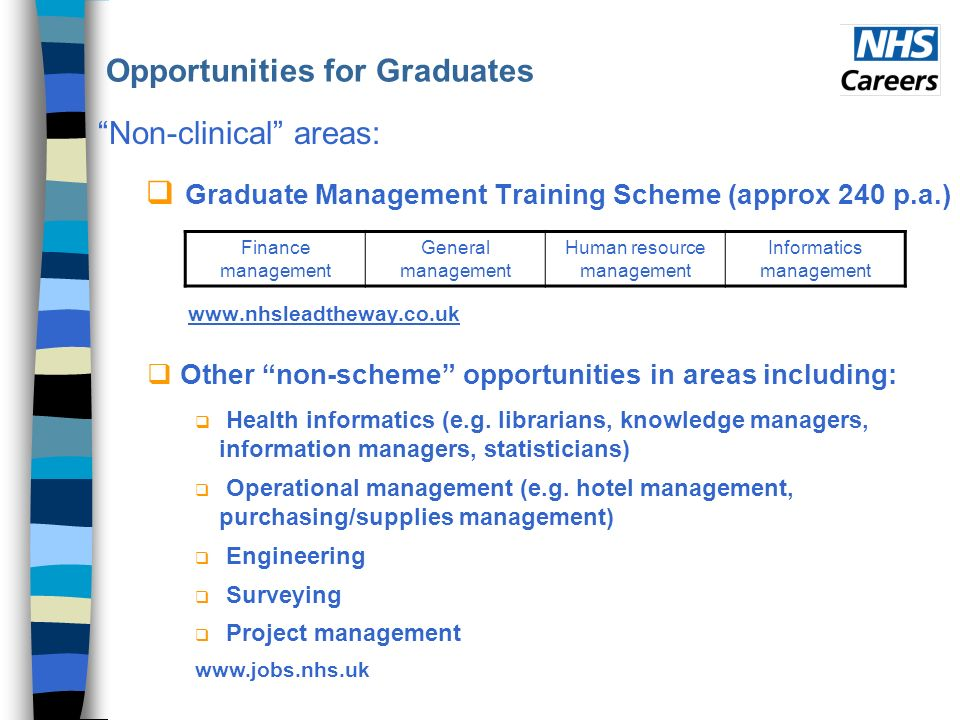 Opportunities for Graduates Non-clinical areas: Graduate Management Training Scheme (approx 240 p.a.) www.nhsleadtheway.co.uk Other non-scheme opportunities in areas including: Health informatics (e.g.