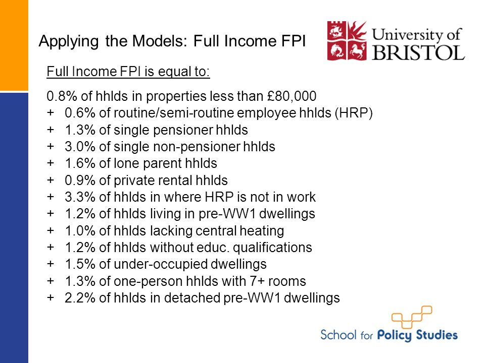 Applying the Models: Full Income FPI Full Income FPI is equal to: 0.8% of hhlds in properties less than £80,000 +0.6% of routine/semi-routine employee hhlds (HRP) +1.3% of single pensioner hhlds +3.0% of single non-pensioner hhlds +1.6% of lone parent hhlds +0.9% of private rental hhlds +3.3% of hhlds in where HRP is not in work +1.2% of hhlds living in pre-WW1 dwellings +1.0% of hhlds lacking central heating +1.2% of hhlds without educ.