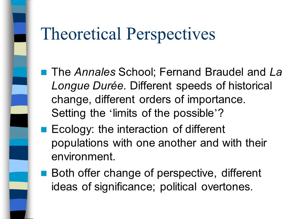 Theoretical Perspectives The Annales School; Fernand Braudel and La Longue Durée.