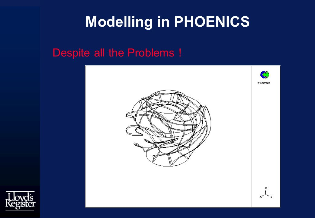 Modelling in PHOENICS Despite all the Problems !