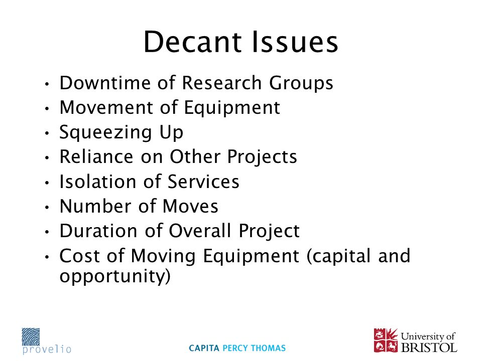 Decant Issues Downtime of Research Groups Movement of Equipment Squeezing Up Reliance on Other Projects Isolation of Services Number of Moves Duration of Overall Project Cost of Moving Equipment (capital and opportunity)