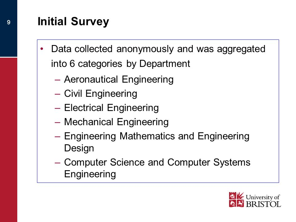 9 Initial Survey Data collected anonymously and was aggregated into 6 categories by Department –Aeronautical Engineering –Civil Engineering –Electrical Engineering –Mechanical Engineering –Engineering Mathematics and Engineering Design –Computer Science and Computer Systems Engineering