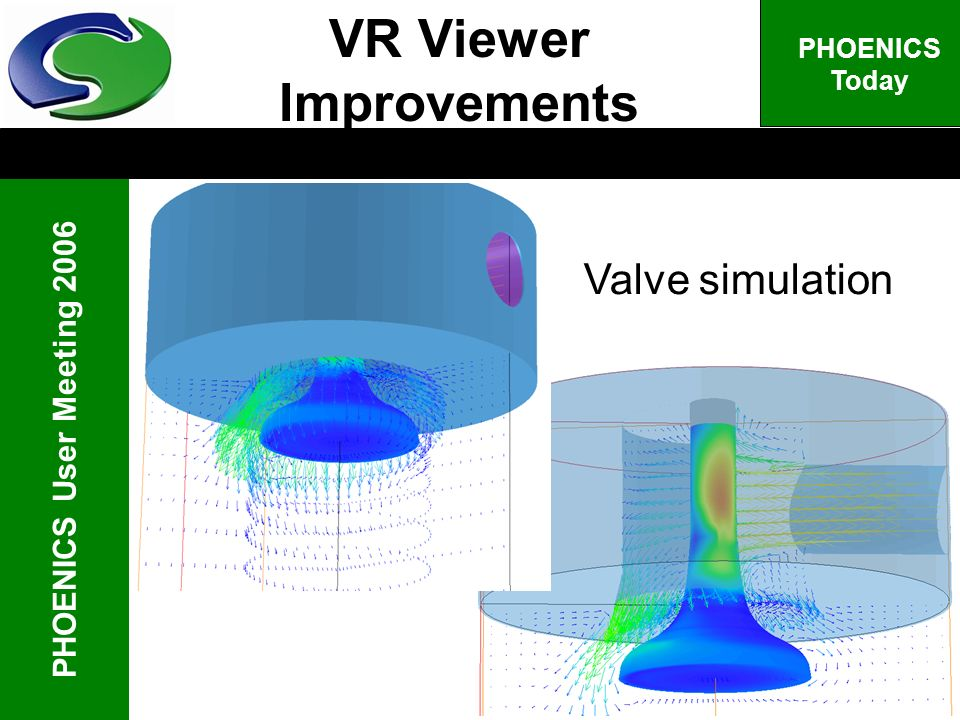 PHOENICS User Meeting 2006 PHOENICS Today VR Viewer Improvements Valve simulation