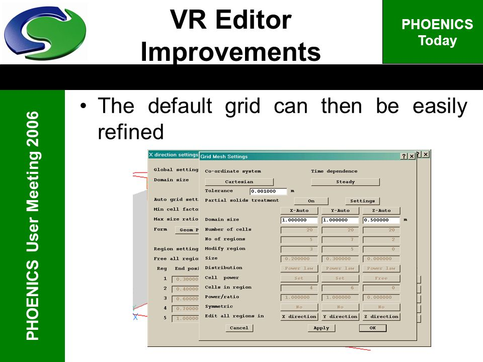 PHOENICS User Meeting 2006 PHOENICS Today The default grid can then be easily refined VR Editor Improvements