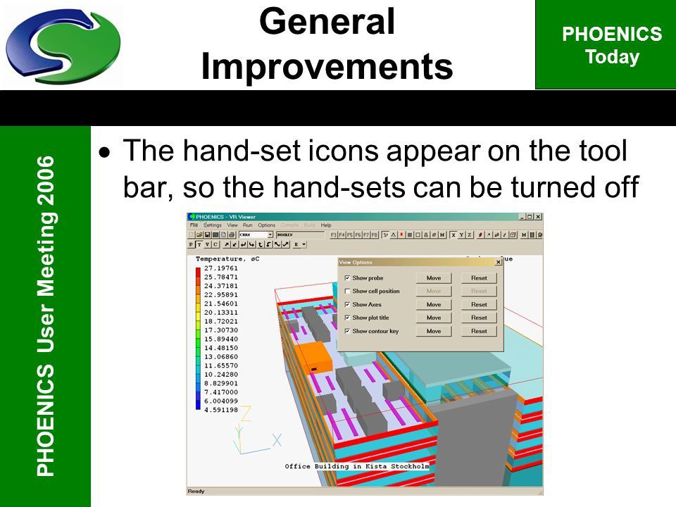 PHOENICS User Meeting 2006 PHOENICS Today The hand-set icons appear on the tool bar, so the hand-sets can be turned off General Improvements