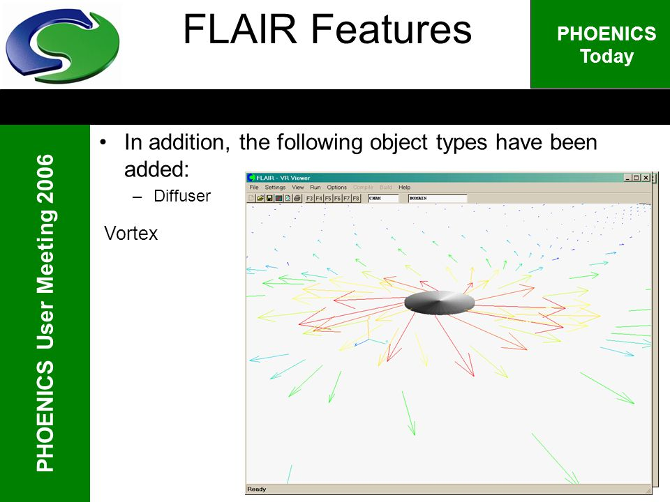 PHOENICS User Meeting 2006 PHOENICS Today Vortex FLAIR Features In addition, the following object types have been added: –Diffuser