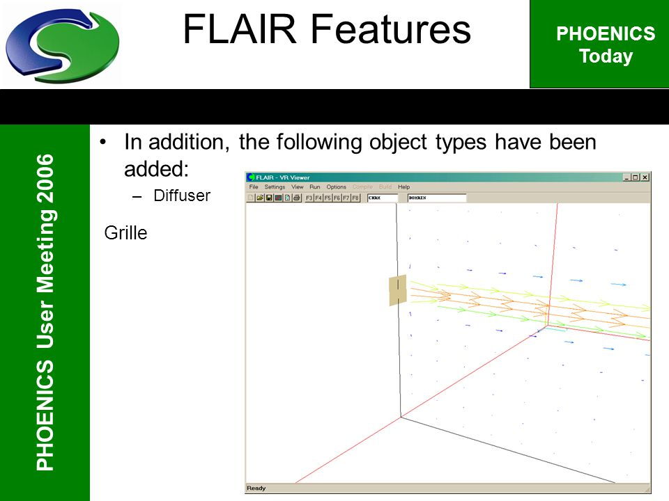 PHOENICS User Meeting 2006 PHOENICS Today Grille FLAIR Features In addition, the following object types have been added: –Diffuser