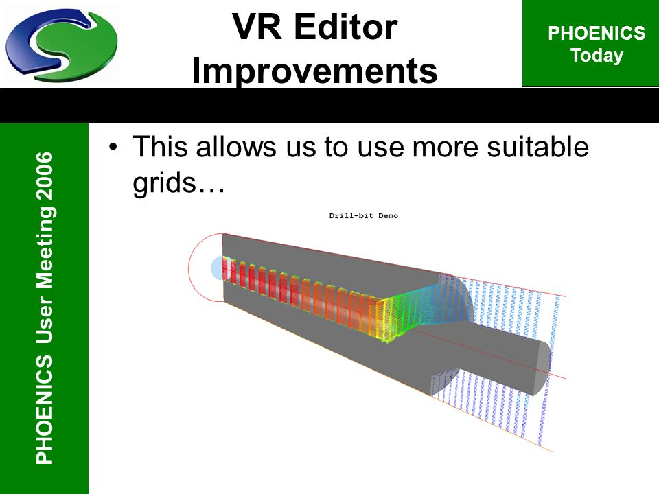 PHOENICS User Meeting 2006 PHOENICS Today This allows us to use more suitable grids… VR Editor Improvements
