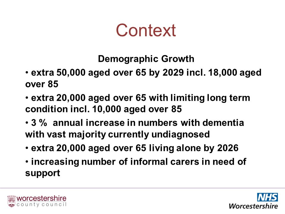 Context Demographic Growth extra 50,000 aged over 65 by 2029 incl.