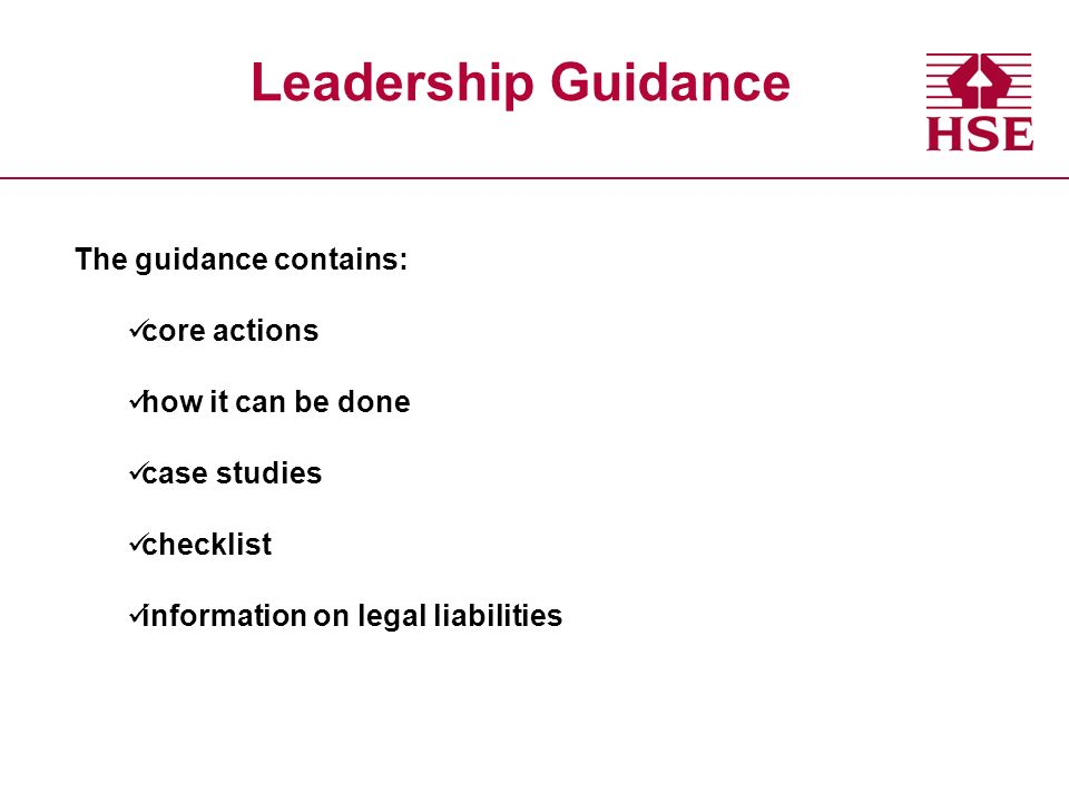 Leadership Guidance The guidance contains: core actions how it can be done case studies checklist information on legal liabilities