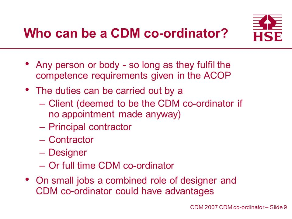 Who can be a CDM co-ordinator.
