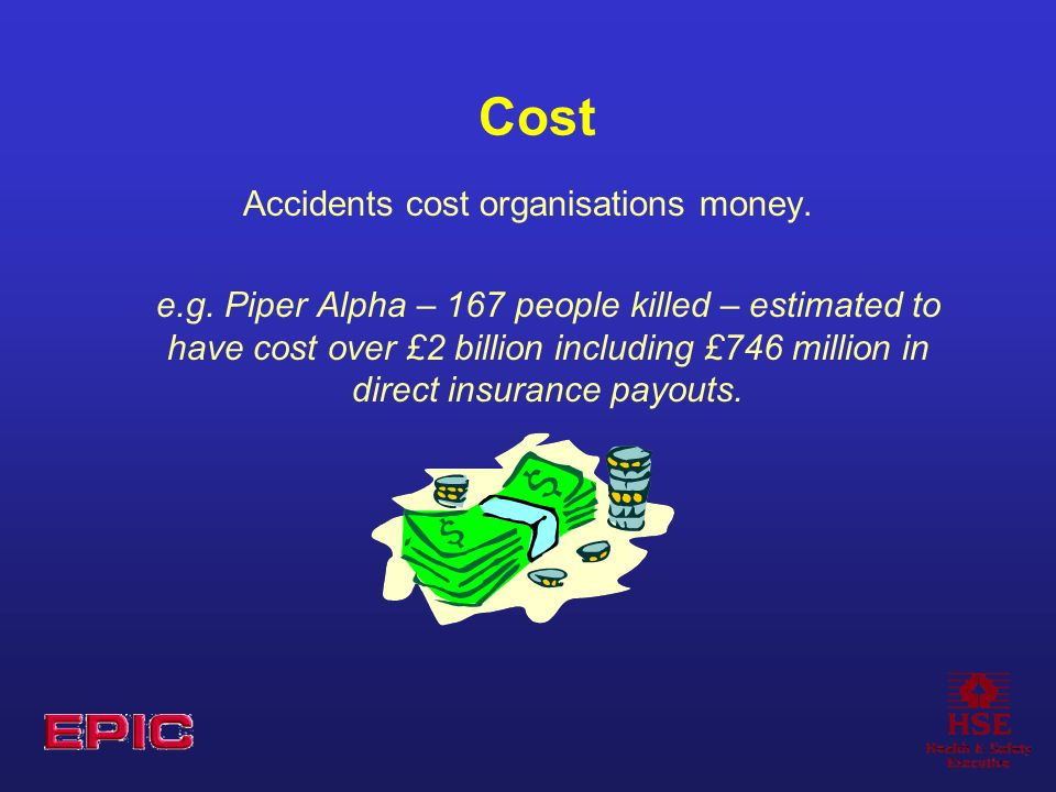 Cost Accidents cost organisations money. e.g.