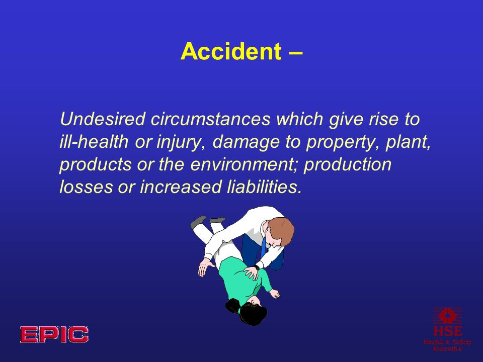 Accident – Undesired circumstances which give rise to ill-health or injury, damage to property, plant, products or the environment; production losses or increased liabilities.
