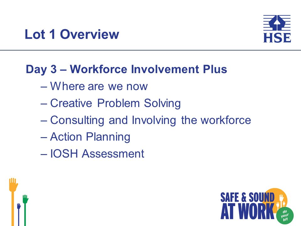 Lot 1 Overview Day 3 – Workforce Involvement Plus –Where are we now –Creative Problem Solving –Consulting and Involving the workforce –Action Planning –IOSH Assessment