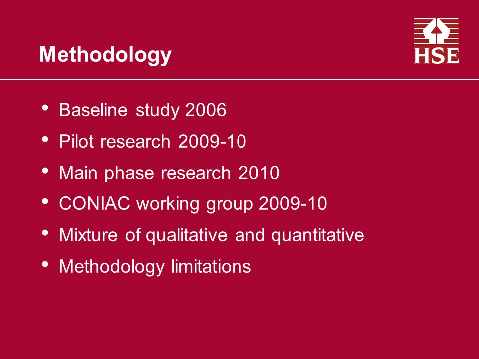 Methodology Baseline study 2006 Pilot research Main phase research 2010 CONIAC working group Mixture of qualitative and quantitative Methodology limitations
