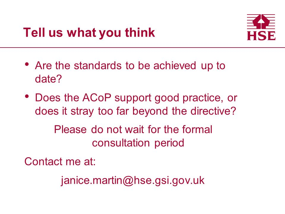 Tell us what you think Are the standards to be achieved up to date.