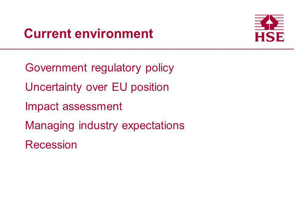 Current environment Government regulatory policy Uncertainty over EU position Impact assessment Managing industry expectations Recession