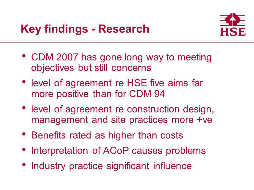 Key findings - Research CDM 2007 has gone long way to meeting objectives but still concerns level of agreement re HSE five aims far more positive than for CDM 94 level of agreement re construction design, management and site practices more +ve Benefits rated as higher than costs Interpretation of ACoP causes problems Industry practice significant influence
