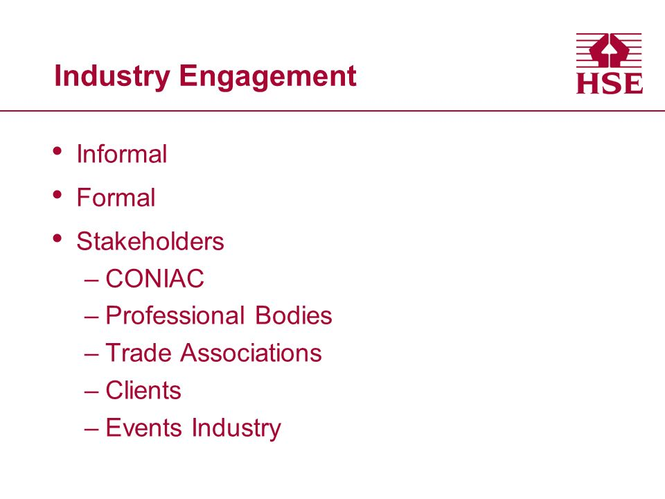 Industry Engagement Informal Formal Stakeholders –CONIAC –Professional Bodies –Trade Associations –Clients –Events Industry