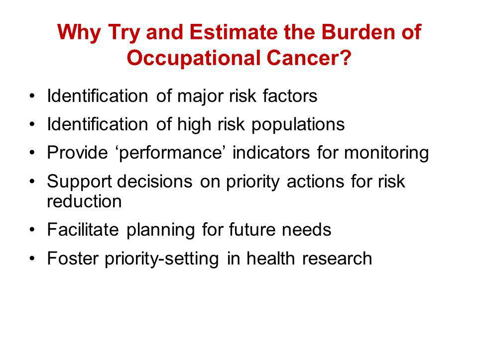 Why Try and Estimate the Burden of Occupational Cancer.