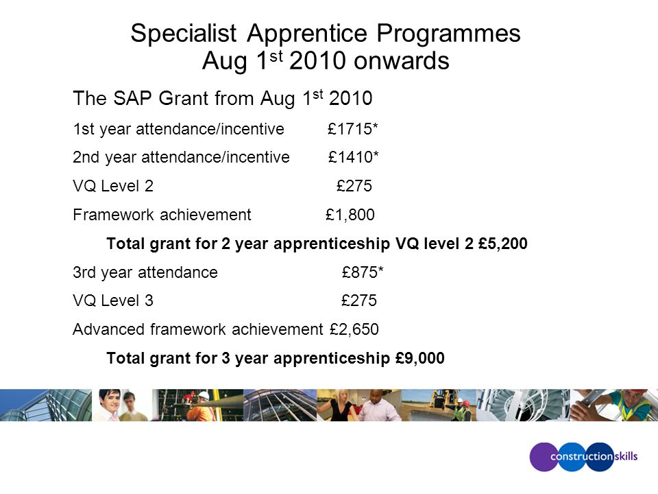 Specialist Apprentice Programmes Aug 1 st 2010 onwards The SAP Grant from Aug 1 st 2010 1st year attendance/incentive £1715* 2nd year attendance/incentive £1410* VQ Level 2 £275 Framework achievement £1,800 Total grant for 2 year apprenticeship VQ level 2 £5,200 3rd year attendance £875* VQ Level 3 £275 Advanced framework achievement £2,650 Total grant for 3 year apprenticeship £9,000