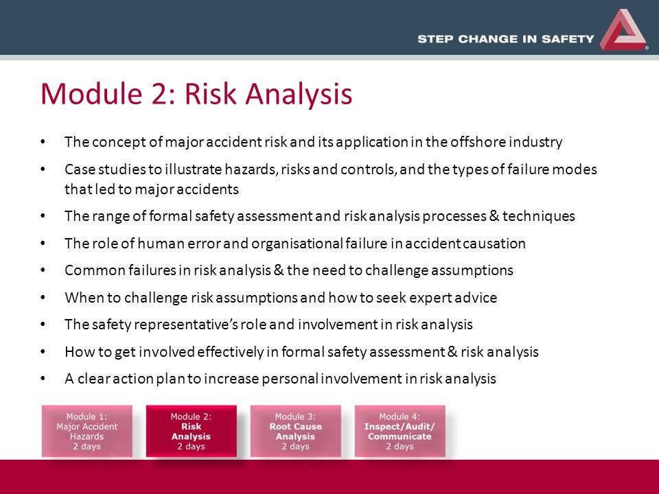 Module 2: Risk Analysis The concept of major accident risk and its application in the offshore industry Case studies to illustrate hazards, risks and controls, and the types of failure modes that led to major accidents The range of formal safety assessment and risk analysis processes & techniques The role of human error and organisational failure in accident causation Common failures in risk analysis & the need to challenge assumptions When to challenge risk assumptions and how to seek expert advice The safety representatives role and involvement in risk analysis How to get involved effectively in formal safety assessment & risk analysis A clear action plan to increase personal involvement in risk analysis