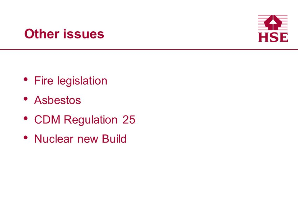 Other issues Fire legislation Asbestos CDM Regulation 25 Nuclear new Build