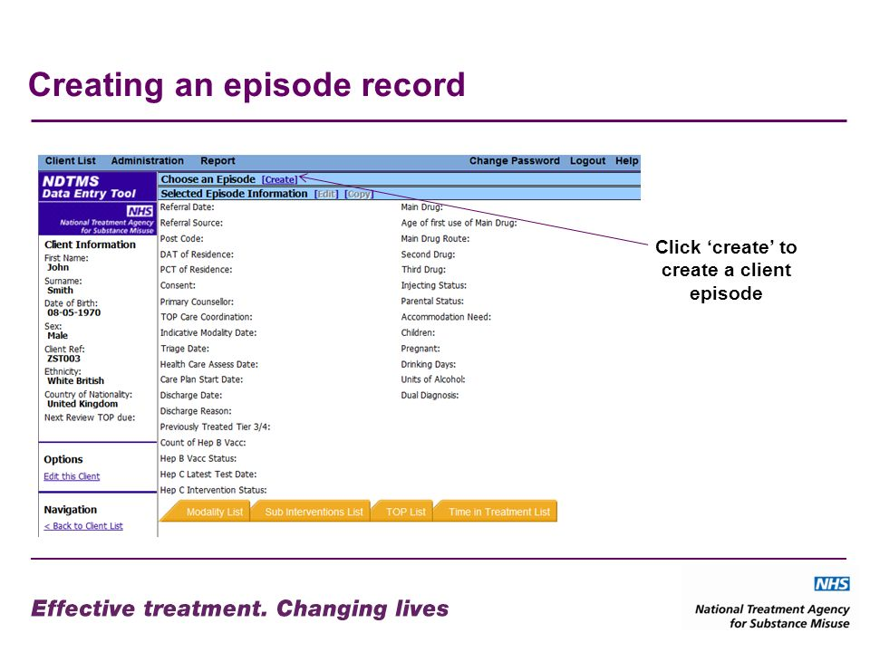 Creating an episode record Click create to create a client episode