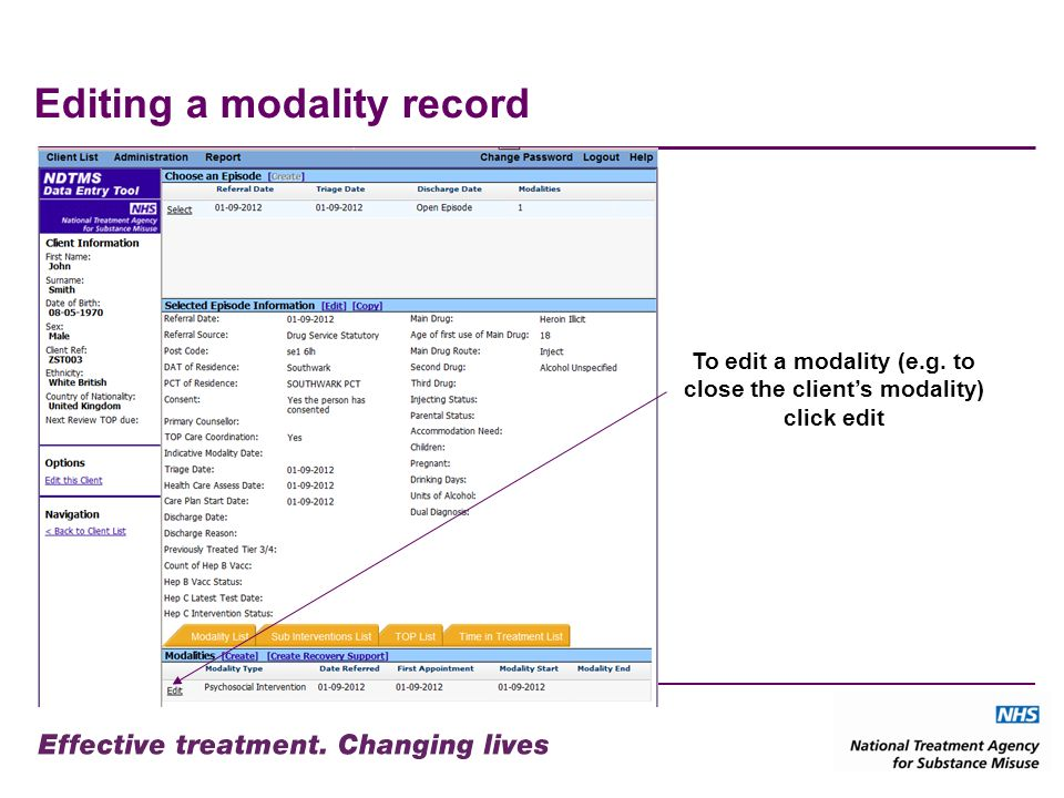 Editing a modality record To edit a modality (e.g. to close the clients modality) click edit