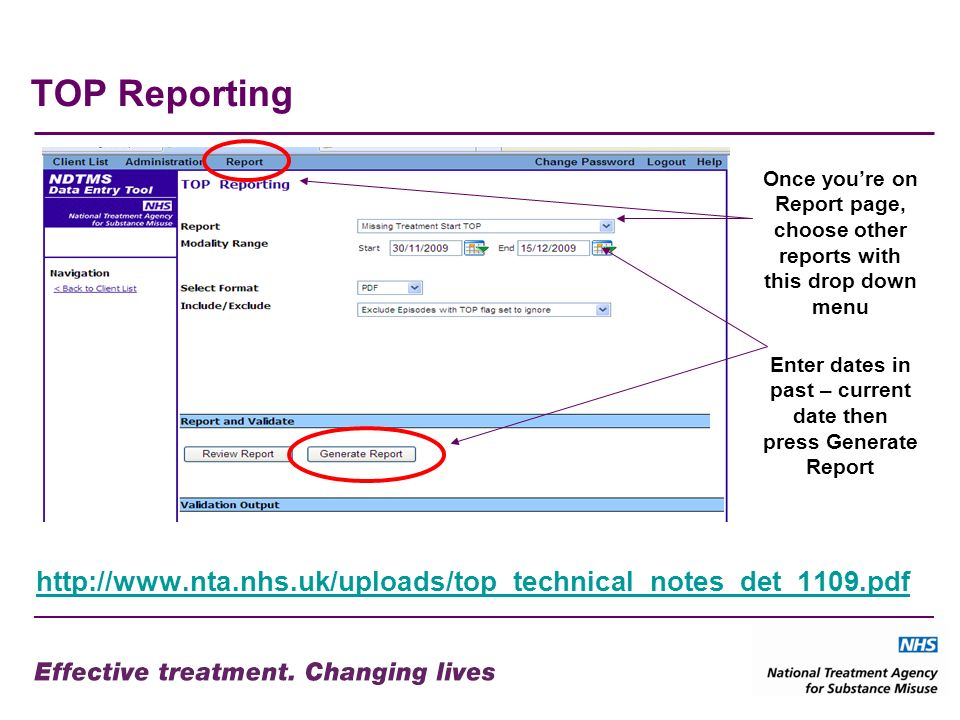 TOP Reporting http://www.nta.nhs.uk/uploads/top_technical_notes_det_1109.pdf Enter dates in past – current date then press Generate Report Once youre on Report page, choose other reports with this drop down menu
