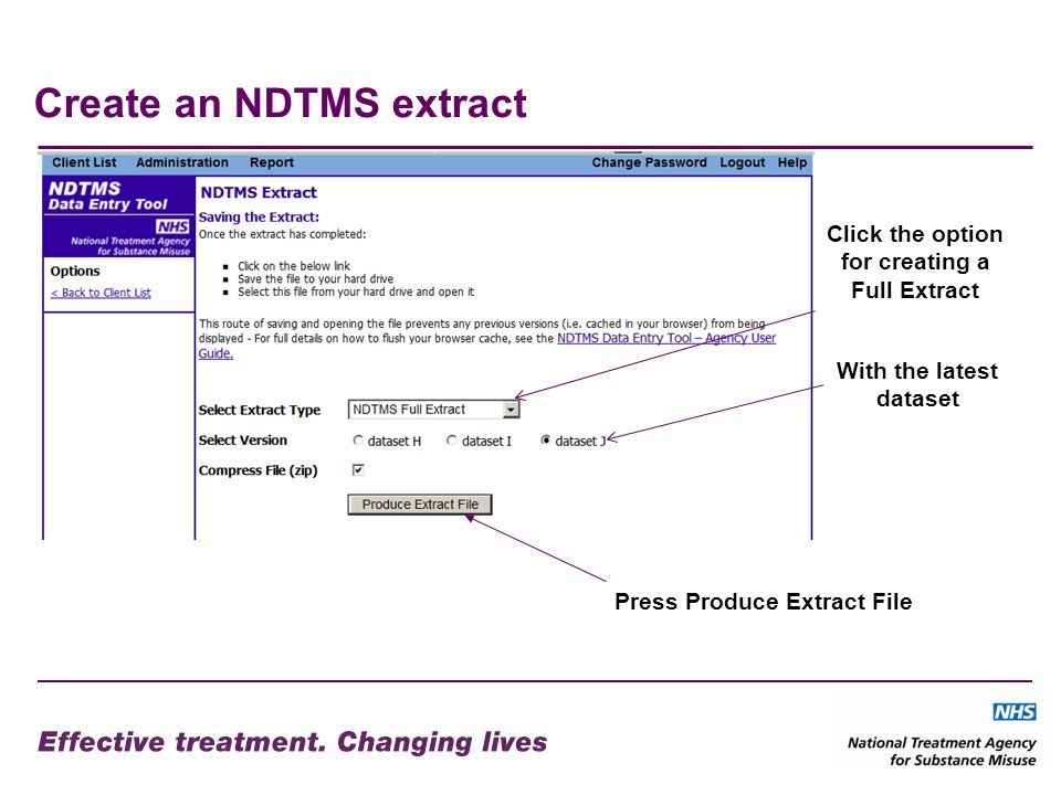 Create an NDTMS extract Press Produce Extract File With the latest dataset Click the option for creating a Full Extract