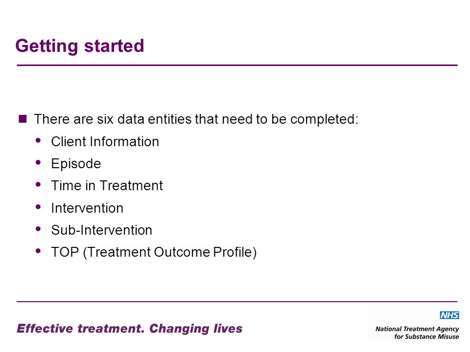 Getting started There are six data entities that need to be completed: Client Information Episode Time in Treatment Intervention Sub-Intervention TOP (Treatment Outcome Profile)