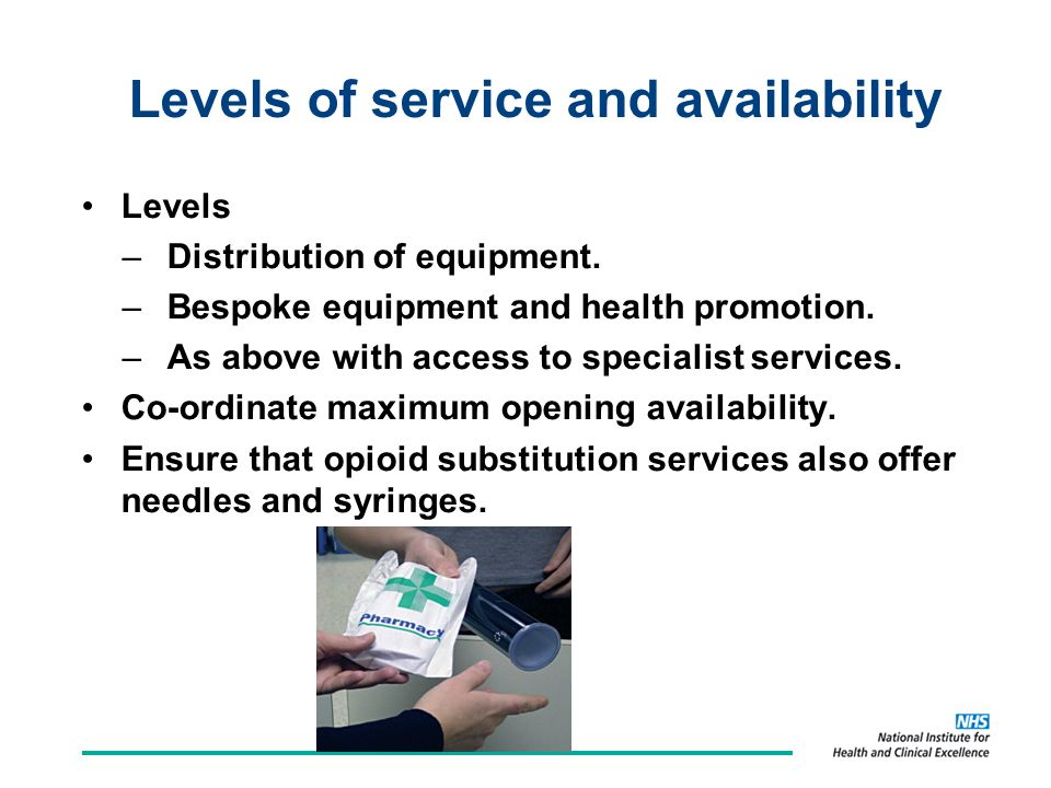 Levels of service and availability Levels –Distribution of equipment.