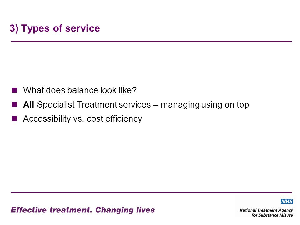 3) Types of service What does balance look like.